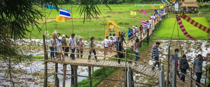 The Bamboo Bridge สะพานบุญวัดพระธาตุสันดอน ลำปาง